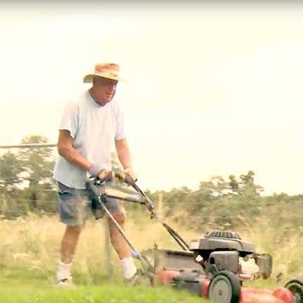 john mowing the lawn